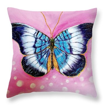 Blue Butterfly Throw Pillow by Hye Ja Billie