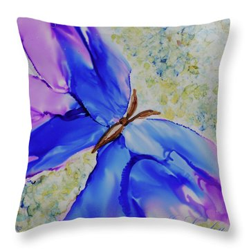 Throw Pillow featuring the painting Blue Butterfly by Joanne Smoley