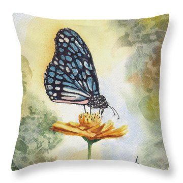 Throw Pillow featuring the painting Blue Butterfly by Sam Sidders