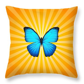 Blue Butterfly Sun Throw Pillow by Ginny Gaura
