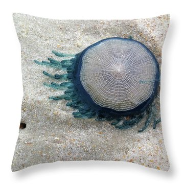 Blue Button #2 Throw Pillow
