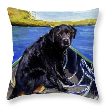 Throw Pillow featuring the painting Blue Canoe by Molly Poole