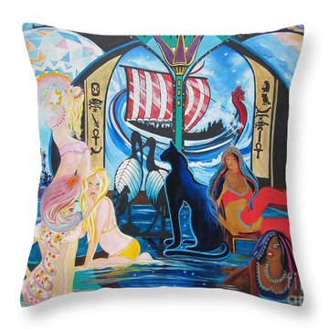 Five Celestial Celebrations                                        Blaa Kattproduksjoner  -  Throw Pillow