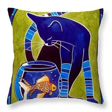 Blue Cat With Goldfish Throw Pillow
