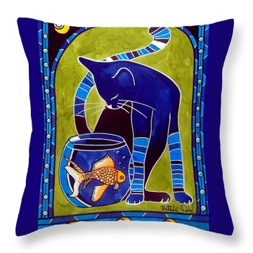 Blue Cat With Goldfish Throw Pillow by Dora Hathazi Mendes