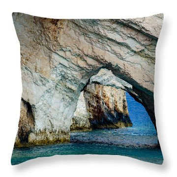 Blue Caves 1 Throw Pillow
