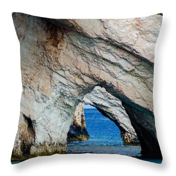 Blue Caves 2 Throw Pillow