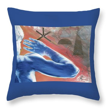Throw Pillow featuring the painting Blue Celestial  by Rene Capone