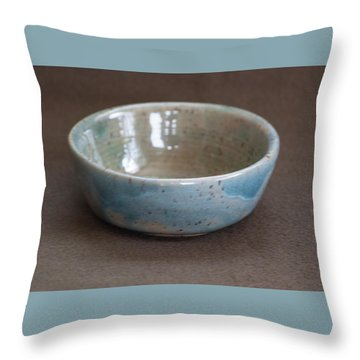Blue Ceramic Drippy Bowl Throw Pillow by Suzanne Gaff