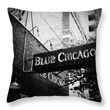 Blue Chicago Nightclub Throw Pillow