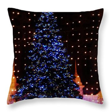 Blue Christmas Tree Throw Pillow