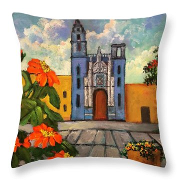 Blue Church   Iglesia Azul Throw Pillow