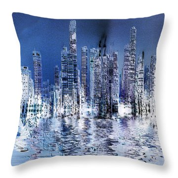 Blue City Throw Pillow by Stuart Turnbull
