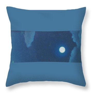 Blue Cloudy Moon Throw Pillow
