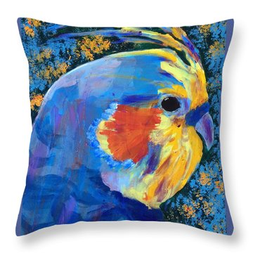 Throw Pillow featuring the painting Blue Cockatiel by Donald J Ryker III