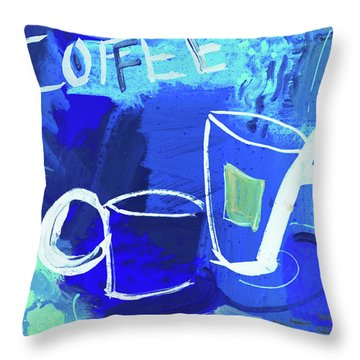 Blue Coffee Throw Pillow