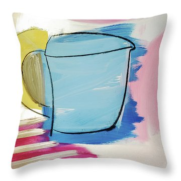 Blue Coffee Mug Throw Pillow