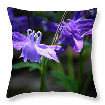 Blue Columbines Throw Pillow by Teresa Mucha