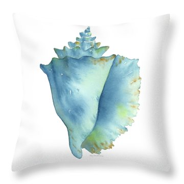 Blue Conch Shell Throw Pillow
