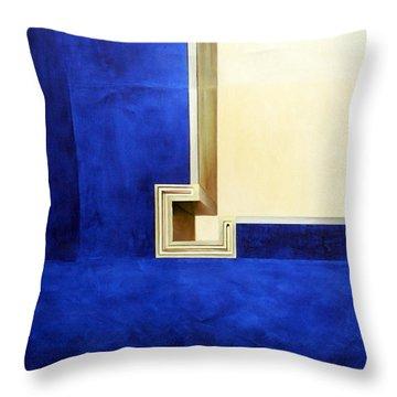 Blue Construktion On White Throw Pillow by Albert Kutzelnig