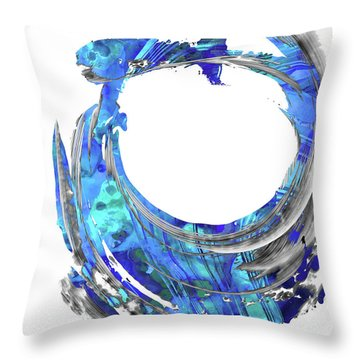 Blue Contemporary Art - Swirling 2 - Sharon Cummings Throw Pillow