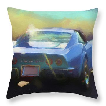 Blue Corvette Throw Pillow