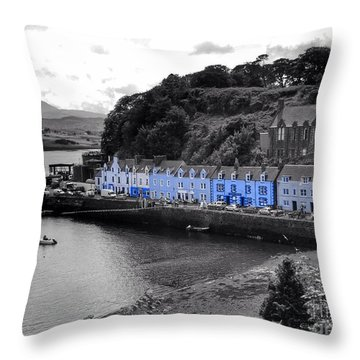 Blue Cottages At Portree Harbour 5 Throw Pillow