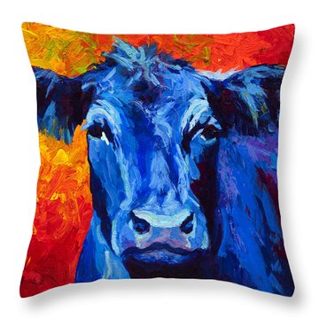 Blue Cow II Throw Pillow