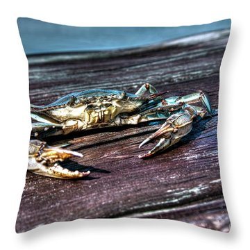 Blue Crab - Above View Throw Pillow
