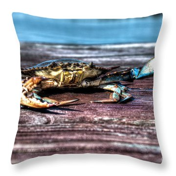 Blue Crab - Big Claws Throw Pillow