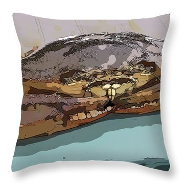 Blue Crab Cartoon Throw Pillow