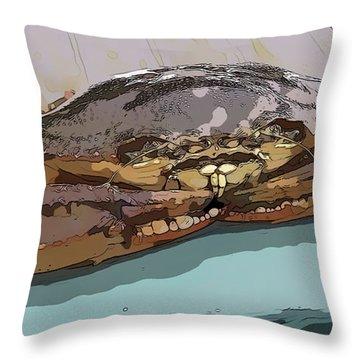 Blue Crab Cartoon Throw Pillow