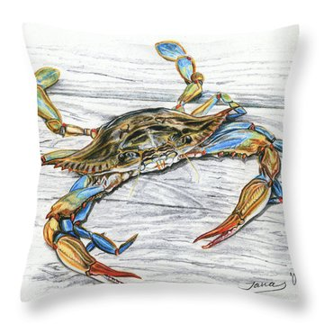 Blue Crab Throw Pillow by Jana Goode