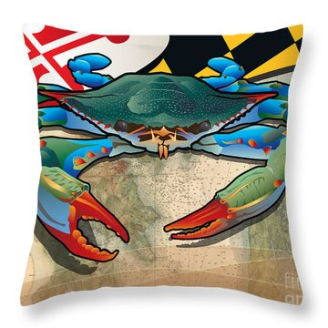 Blue Crab Of Maryland Throw Pillow