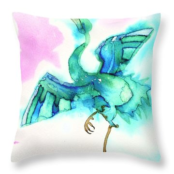 Blue Crane Throw Pillow