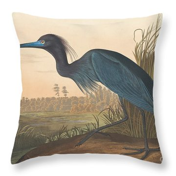 Blue Crane Or Heron Throw Pillow