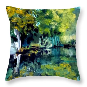 Throw Pillow featuring the painting Blue Creek Fish Camp by Jim Phillips