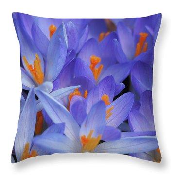 Blue Crocuses Throw Pillow