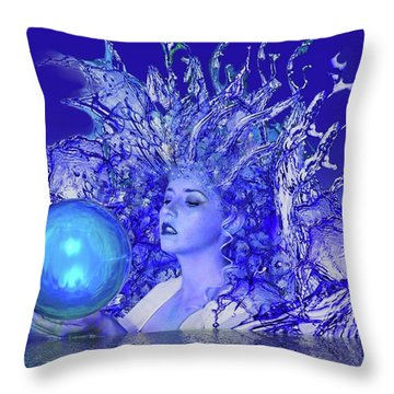 Blue Crystal Throw Pillow by Matthew Lacey