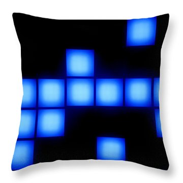 Blue Cubes Throw Pillow by Brandon Tabiolo - Printscapes