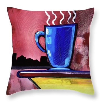 Blue Cup Throw Pillow