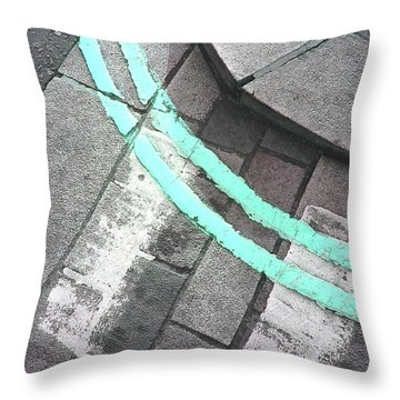 Throw Pillow featuring the photograph Blue Curb by Rebecca Harman
