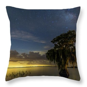 Blue Cypress Lake Nightsky Throw Pillow