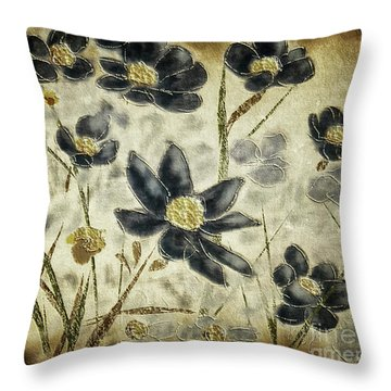 Blue Daisies Throw Pillow by Lois Bryan
