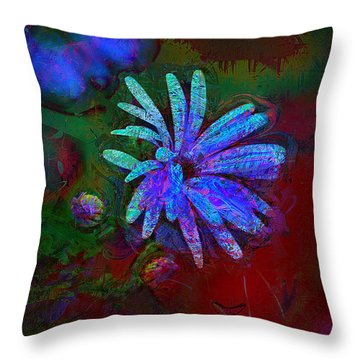 Throw Pillow featuring the photograph Blue Daisy by Lori Seaman