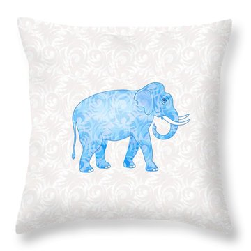 Blue Damask Elephant Throw Pillow by Antique Images
