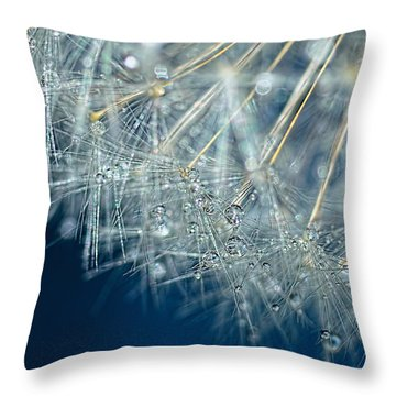 Blue Dandelion Dew By Kaye Menner Throw Pillow