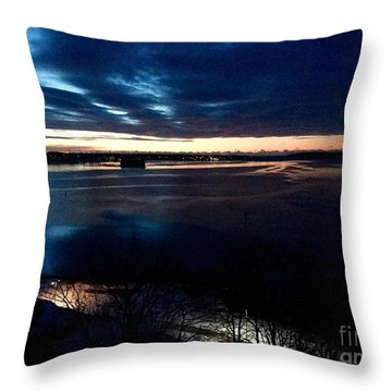 Blue Dawn On Casco Bay Throw Pillow