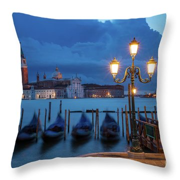 Throw Pillow featuring the photograph Blue Dawn Over Venice by Brian Jannsen