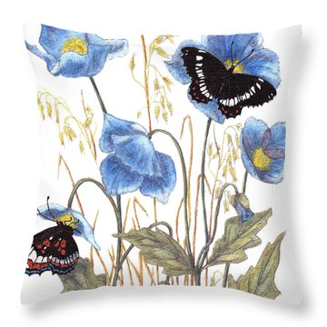 Blue-day Butterfly Throw Pillow